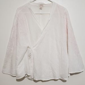 Sundance White Wrap Top With Pink Embroidery